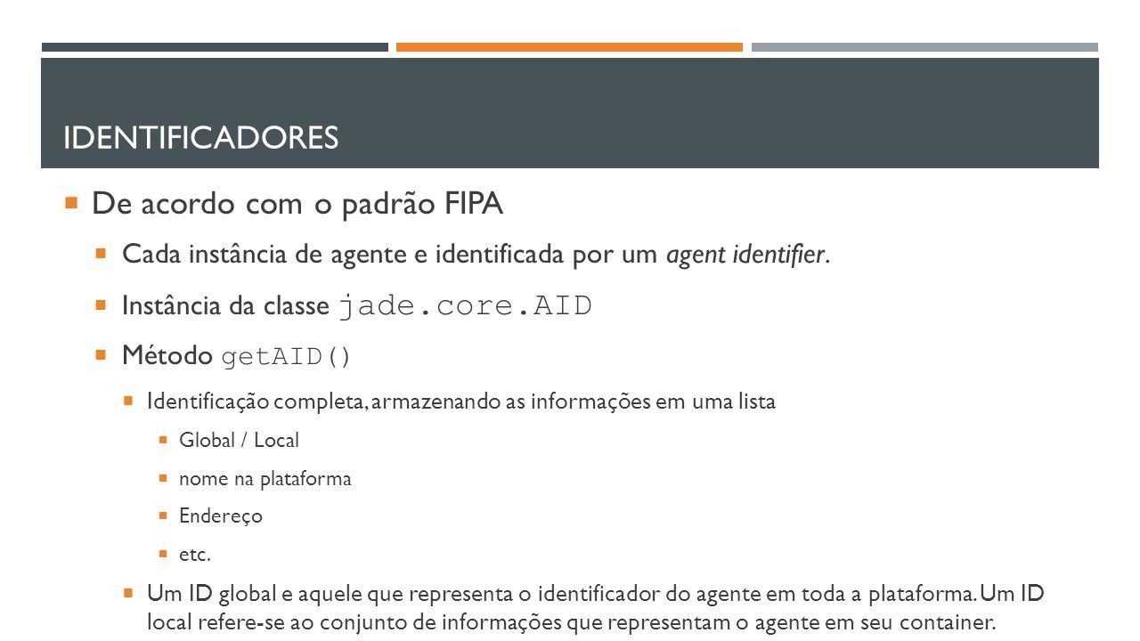 De acordo com o padrão FIPA