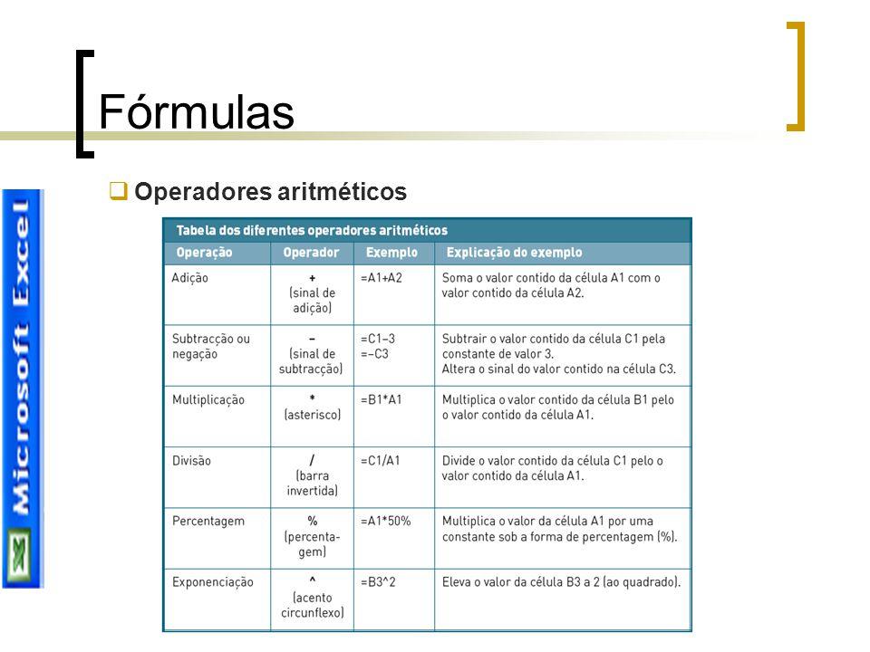 Fórmulas Operadores aritméticos Joana Sousa