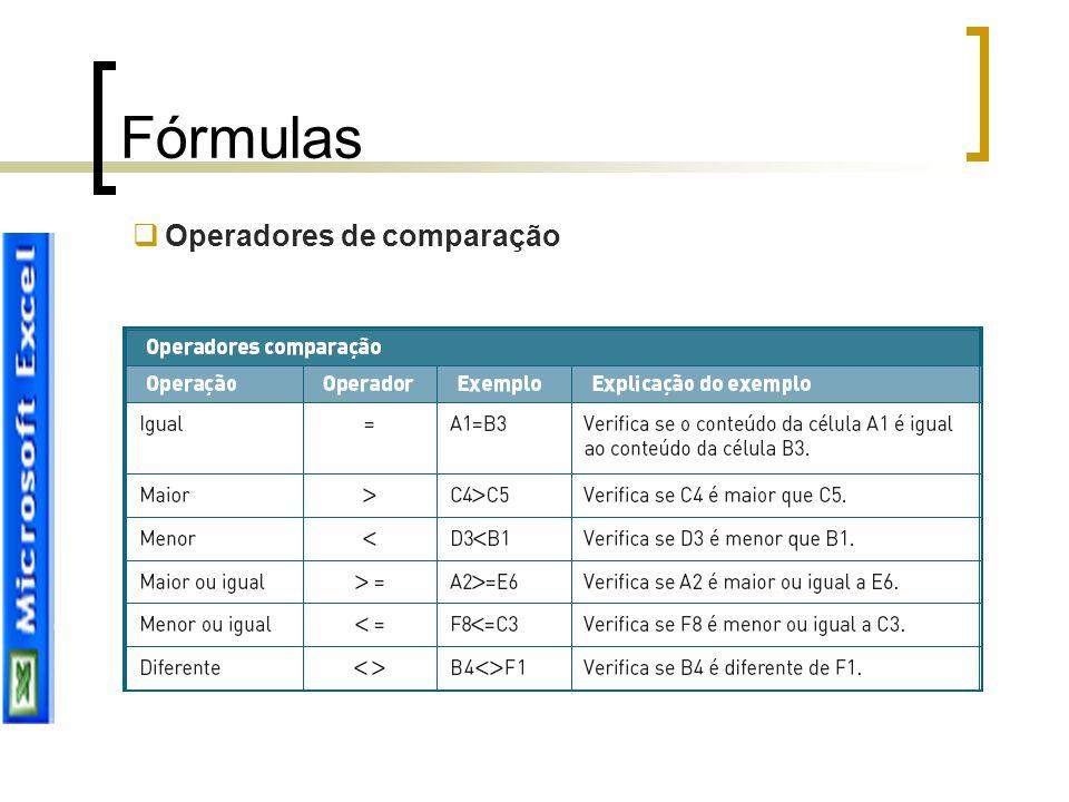Fórmulas Operadores de comparação
