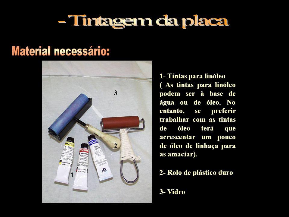 - Tintagem da placa Material necessário: 1- Tintas para linóleo