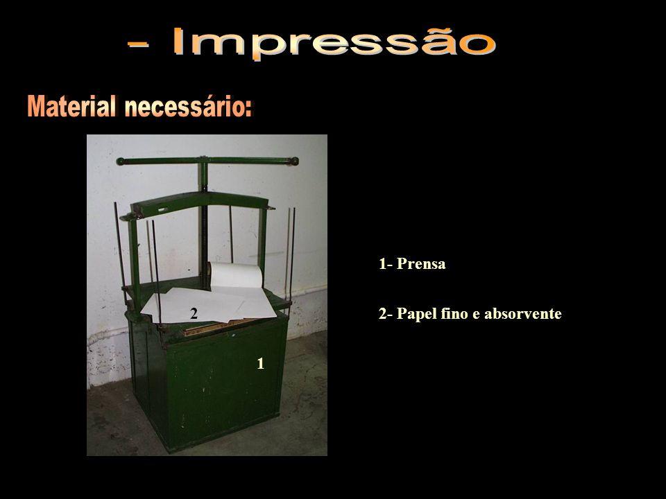 - Impressão Material necessário: 1- Prensa 2