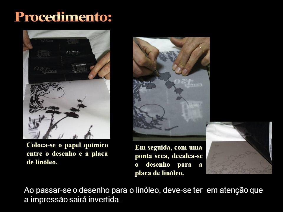 Procedimento: Coloca-se o papel químico entre o desenho e a placa de linóleo.
