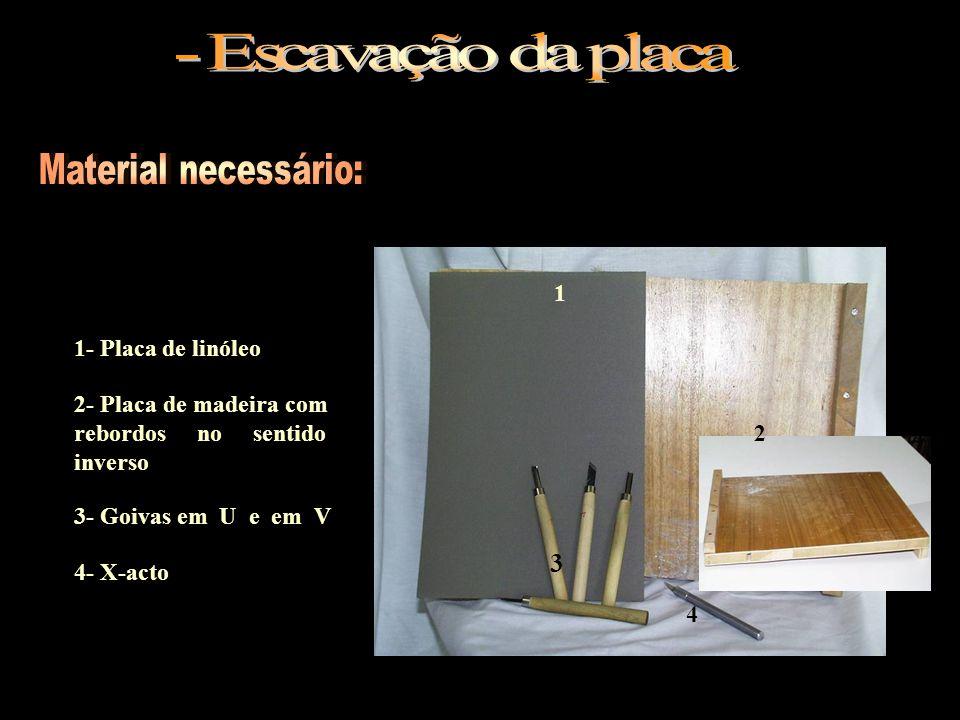 - Escavação da placa Material necessário: 3 1 1- Placa de linóleo