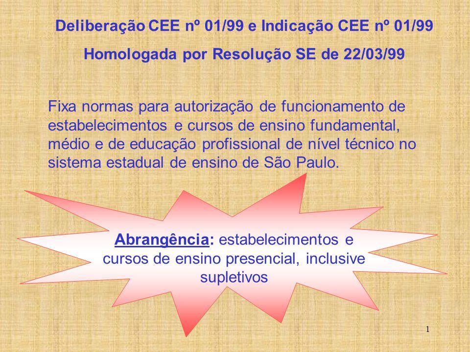 Deliberação CEE nº 1/99 e Indicação CEE nº 1/99