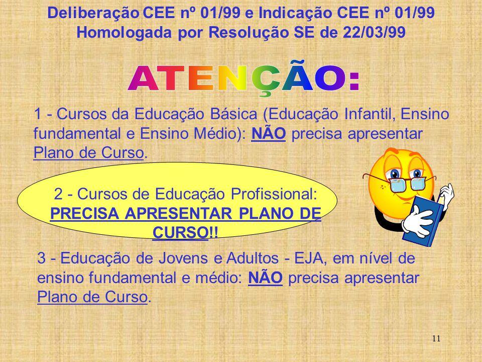 ATENÇÃO: Deliberação CEE nº 01/99 e Indicação CEE nº 01/99