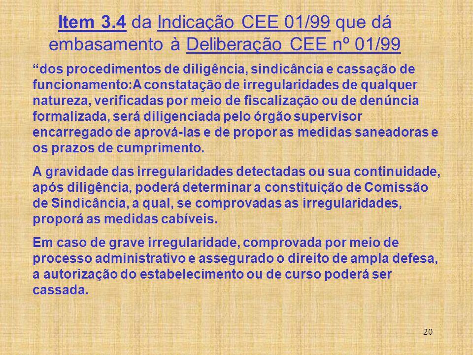 Item 3.4 da Indicação CEE 01/99 que dá embasamento à Deliberação CEE nº 01/99