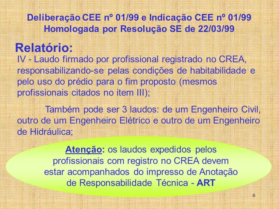 Relatório: Deliberação CEE nº 01/99 e Indicação CEE nº 01/99
