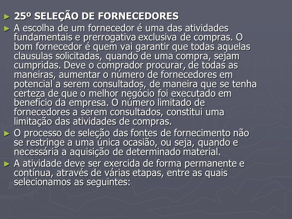 25º SELEÇÃO DE FORNECEDORES