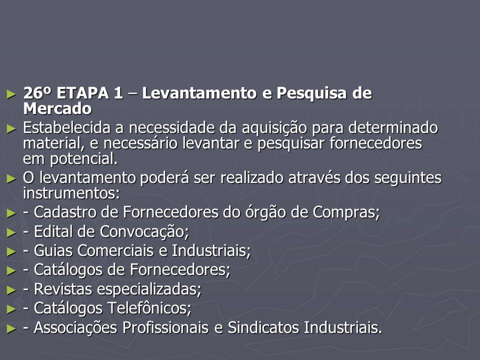 26º ETAPA 1 – Levantamento e Pesquisa de Mercado