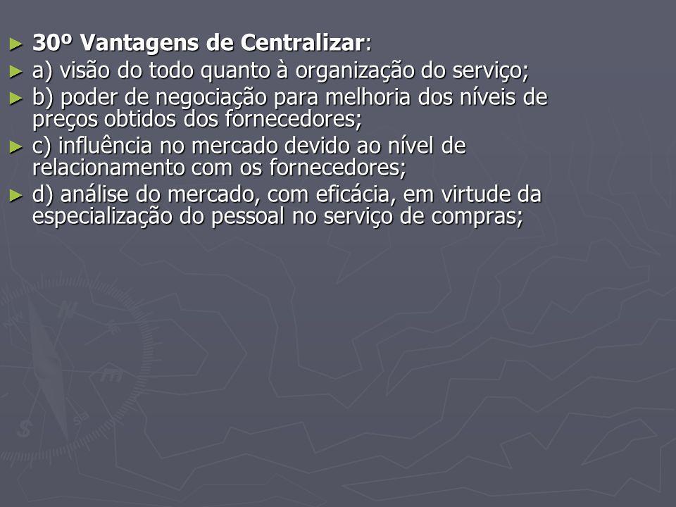 30º Vantagens de Centralizar: