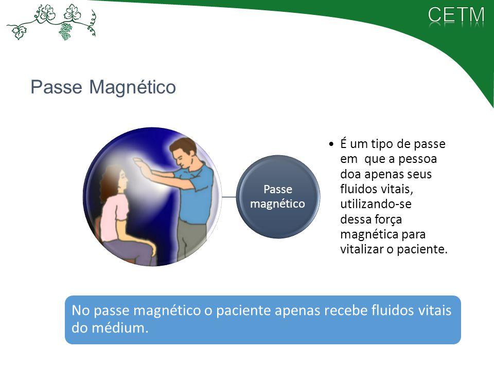 Passe magnético É um tipo de passe em que a pessoa doa apenas seus fluidos vitais, utilizando-se dessa força magnética para vitalizar o paciente.