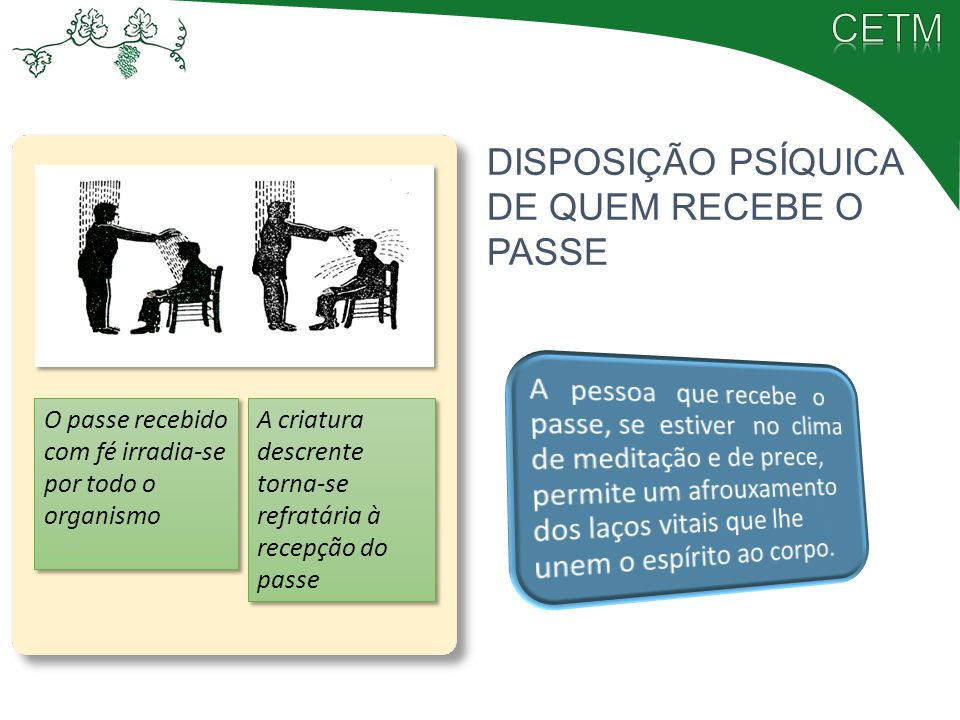 DISPOSIÇÃO PSÍQUICA DE QUEM RECEBE O PASSE
