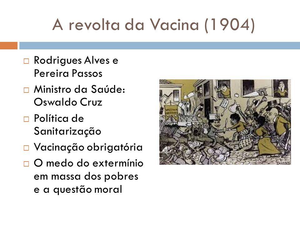 A revolta da Vacina (1904) Rodrigues Alves e Pereira Passos
