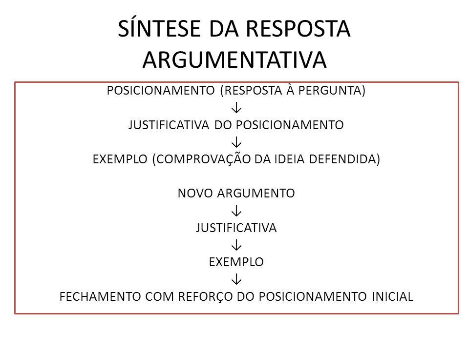 SÍNTESE DA RESPOSTA ARGUMENTATIVA