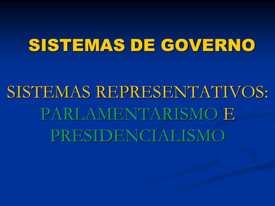 SISTEMAS REPRESENTATIVOS: PARLAMENTARISMO E PRESIDENCIALISMO