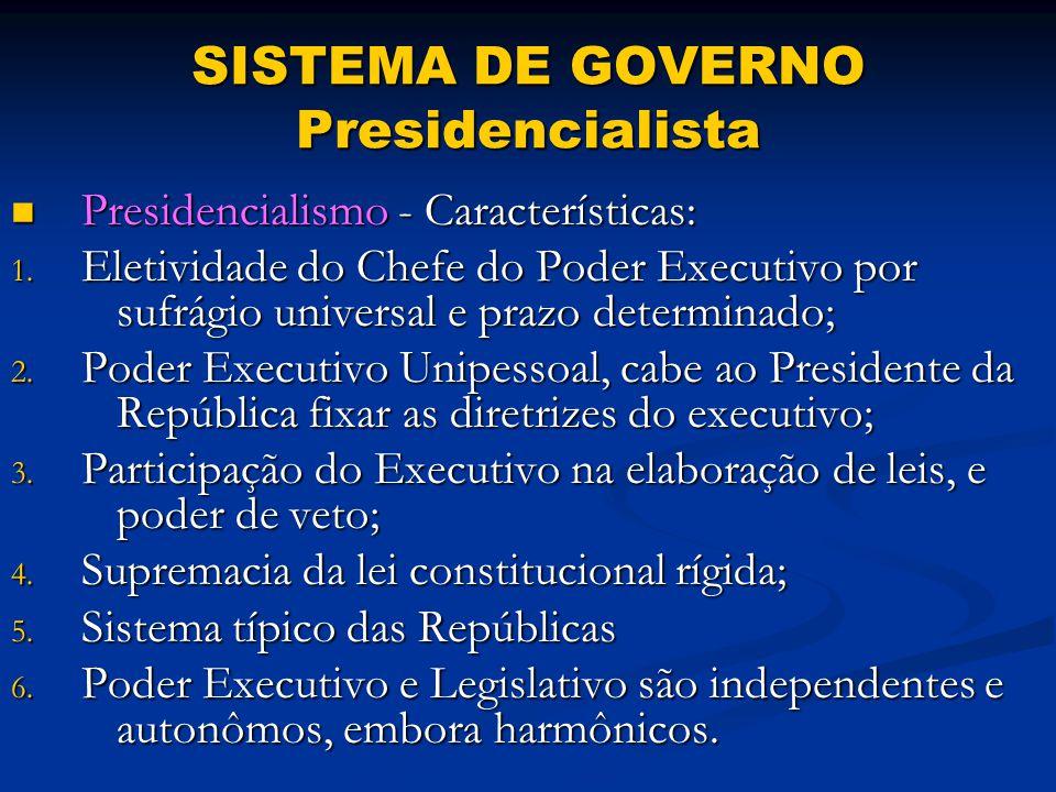 SISTEMA DE GOVERNO Presidencialista