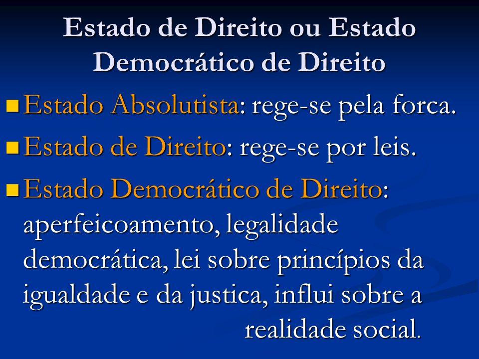 Estado de Direito ou Estado Democrático de Direito
