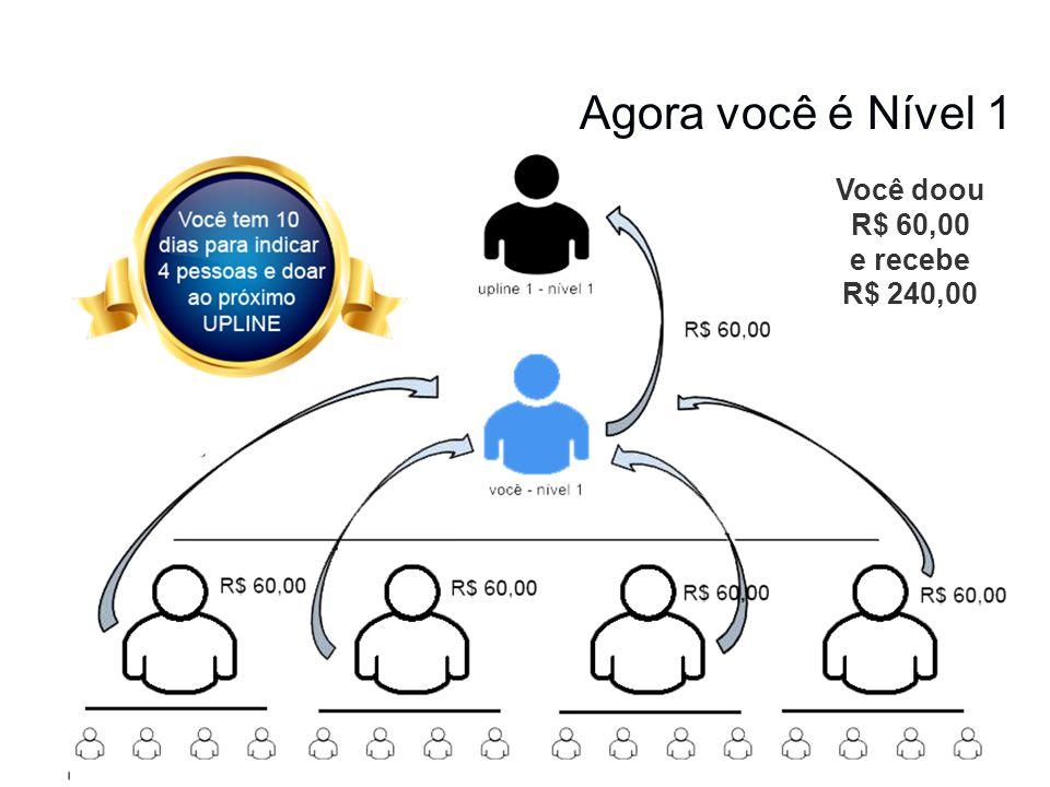 Agora você é Nível 1 Você doou R$ 60,00 e recebe R$ 240,00