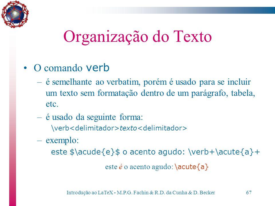 Organização do Texto O comando verb