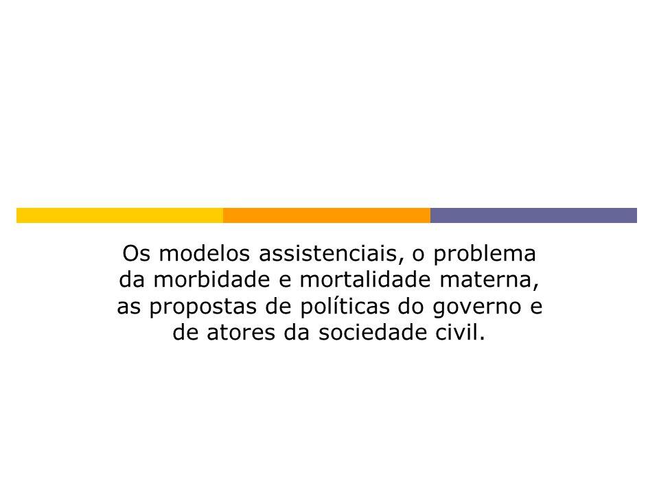 Os modelos assistenciais, o problema da morbidade e mortalidade materna, as propostas de políticas do governo e de atores da sociedade civil.