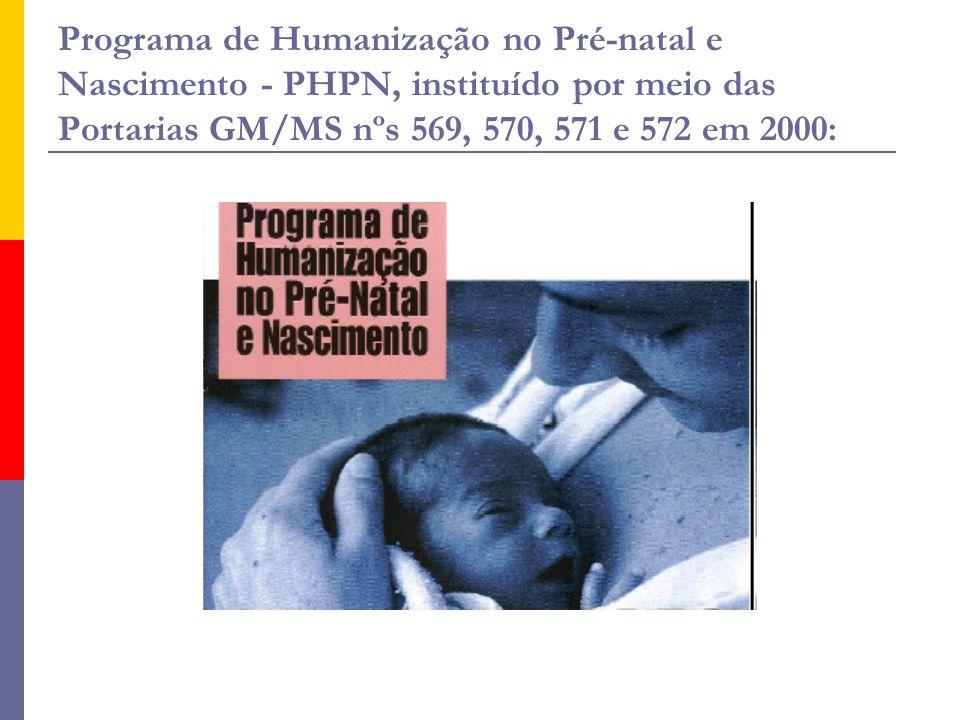 Programa de Humanização no Pré-natal e Nascimento - PHPN, instituído por meio das Portarias GM/MS nºs 569, 570, 571 e 572 em 2000: