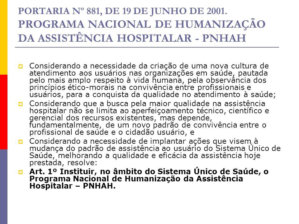 PORTARIA Nº 881, DE 19 DE JUNHO DE 2001