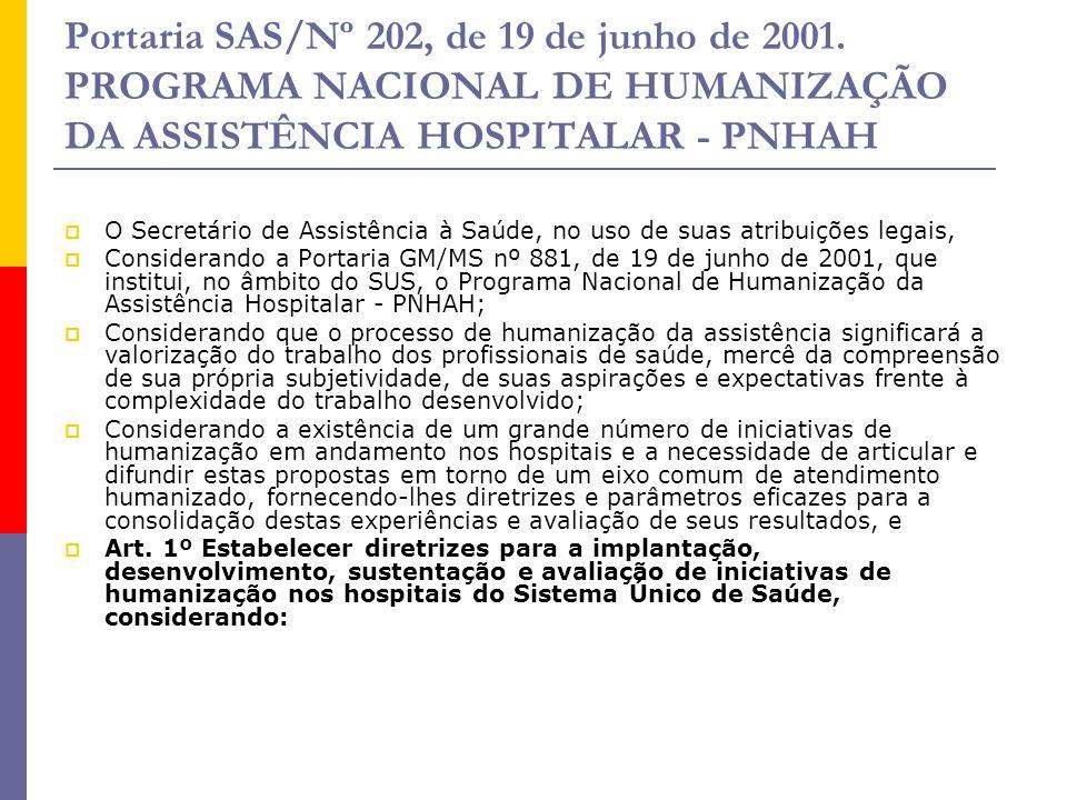 Portaria SAS/Nº 202, de 19 de junho de 2001