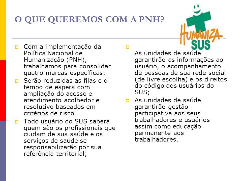 O QUE QUEREMOS COM A PNH Com a implementação da Política Nacional de Humanização (PNH), trabalhamos para consolidar quatro marcas específicas: