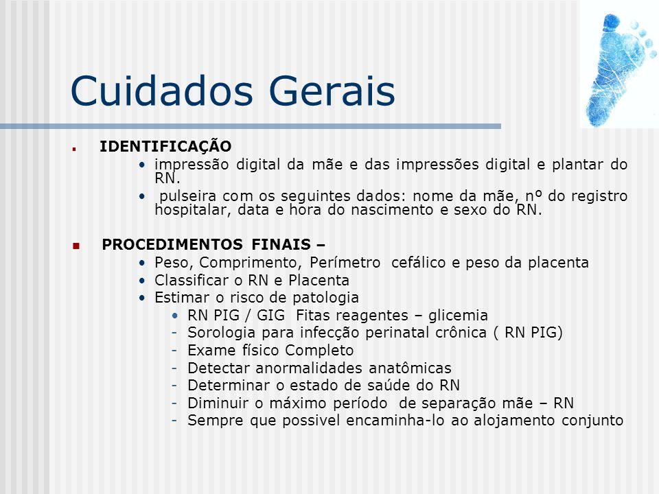 Cuidados Gerais IDENTIFICAÇÃO. impressão digital da mãe e das impressões digital e plantar do RN.