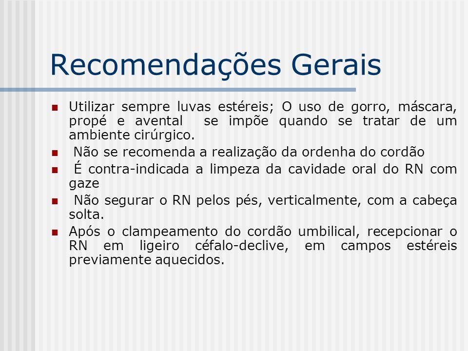 Recomendações Gerais Utilizar sempre luvas estéreis; O uso de gorro, máscara, propé e avental se impõe quando se tratar de um ambiente cirúrgico.
