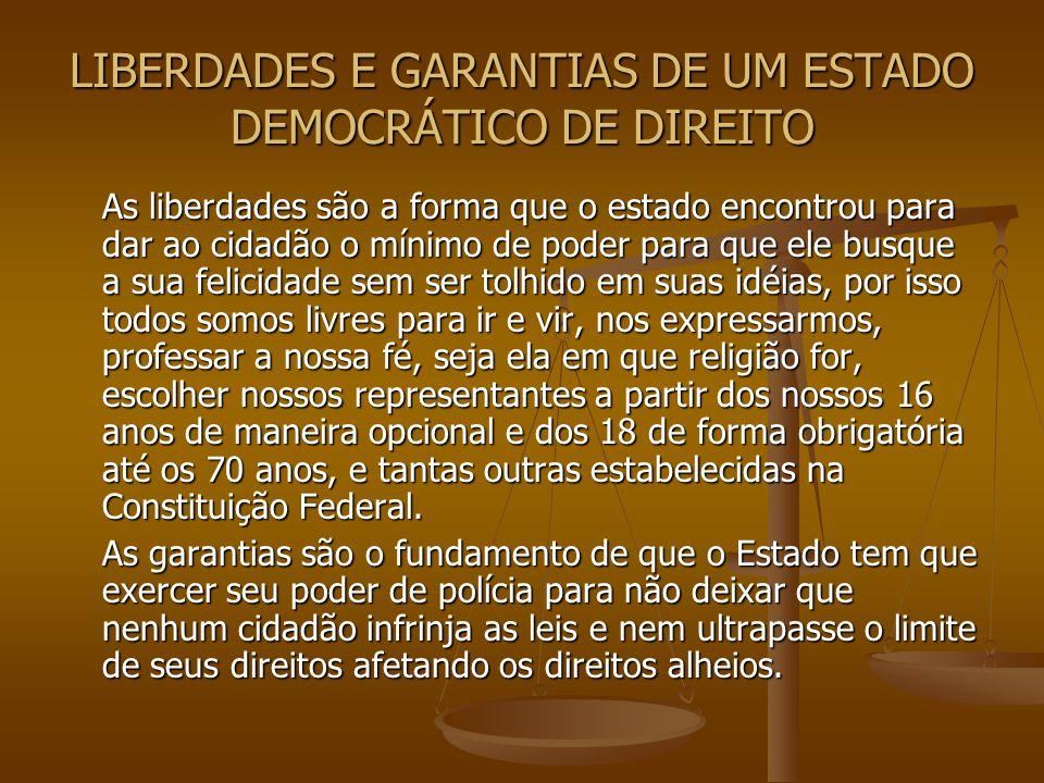 LIBERDADES E GARANTIAS DE UM ESTADO DEMOCRÁTICO DE DIREITO