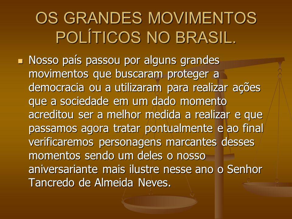 OS GRANDES MOVIMENTOS POLÍTICOS NO BRASIL.