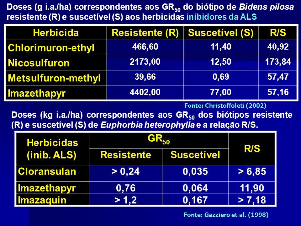 Herbicida Resistente (R) Suscetível (S) R/S Chlorimuron-ethyl