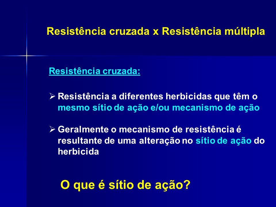 O que é sítio de ação Resistência cruzada x Resistência múltipla