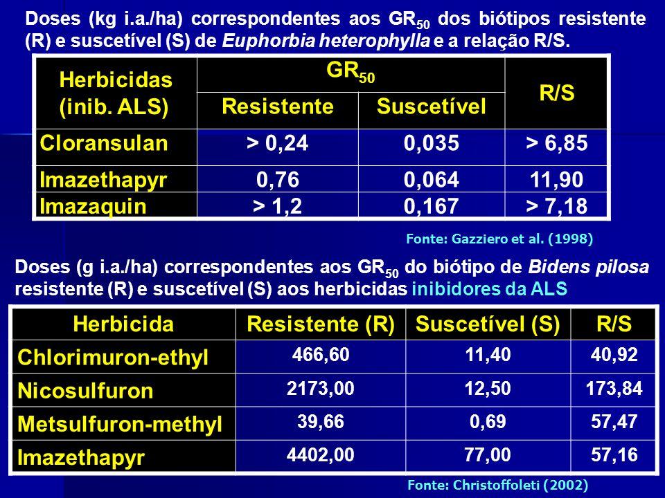 Herbicidas (inib. ALS) GR50 R/S Resistente Suscetível Cloransulan