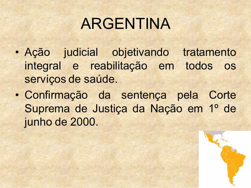 ARGENTINA Ação judicial objetivando tratamento integral e reabilitação em todos os serviços de saúde.