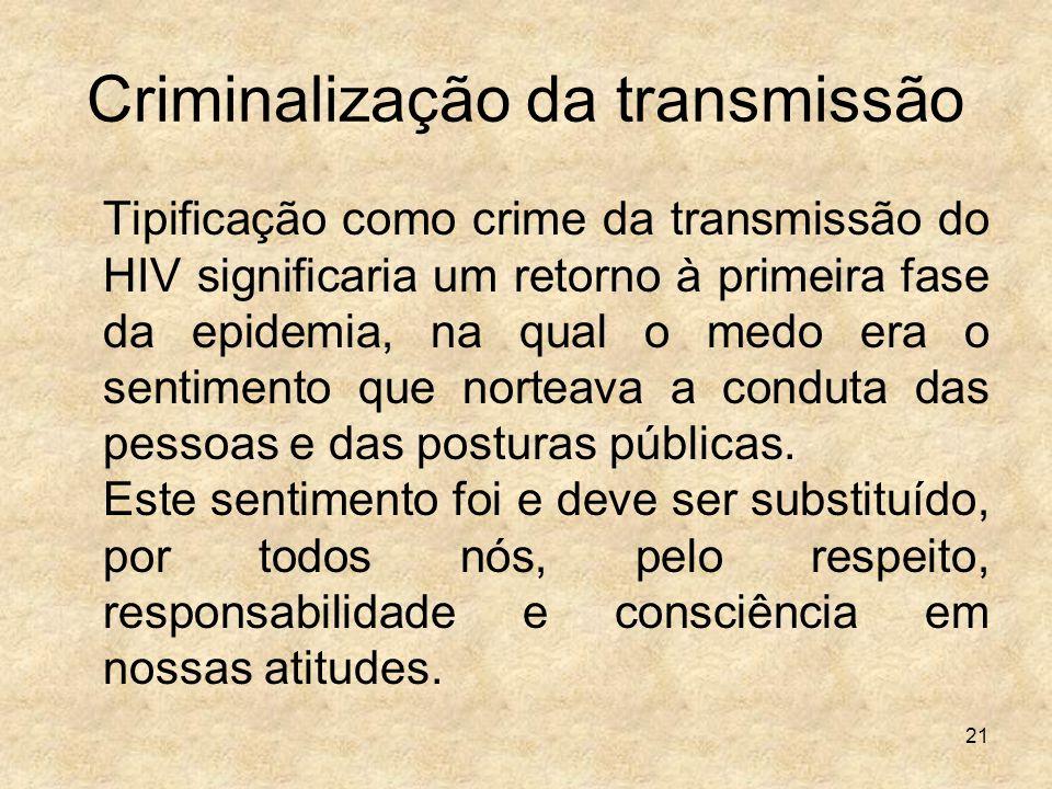 Criminalização da transmissão
