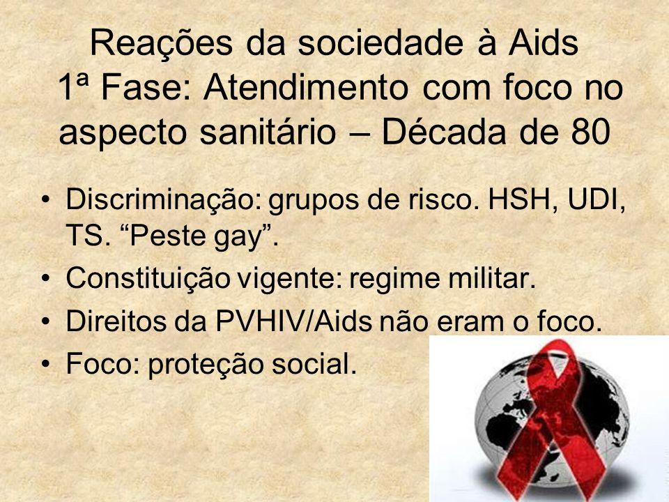 Reações da sociedade à Aids 1ª Fase: Atendimento com foco no aspecto sanitário – Década de 80
