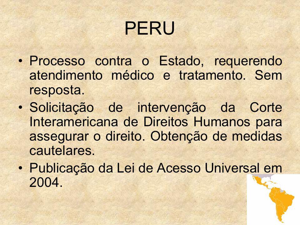 PERU Processo contra o Estado, requerendo atendimento médico e tratamento. Sem resposta.