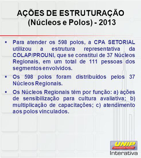 AÇÕES DE ESTRUTURAÇÃO (Núcleos e Polos) - 2013