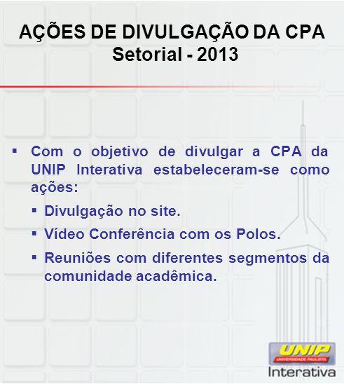 AÇÕES DE DIVULGAÇÃO DA CPA Setorial - 2013
