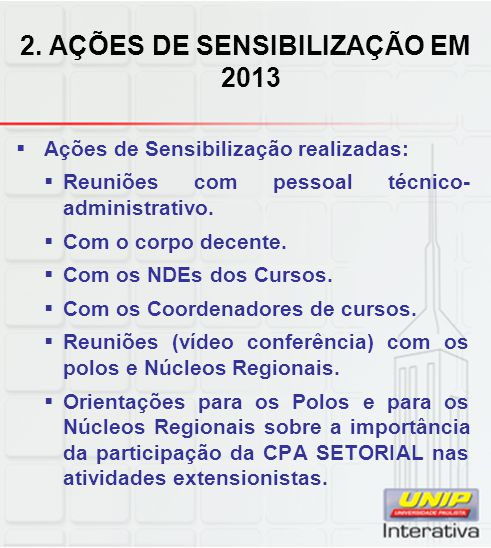 2. AÇÕES DE SENSIBILIZAÇÃO EM 2013