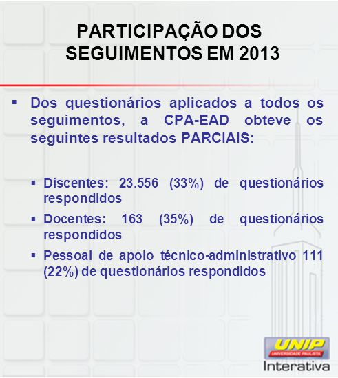 PARTICIPAÇÃO DOS SEGUIMENTOS EM 2013