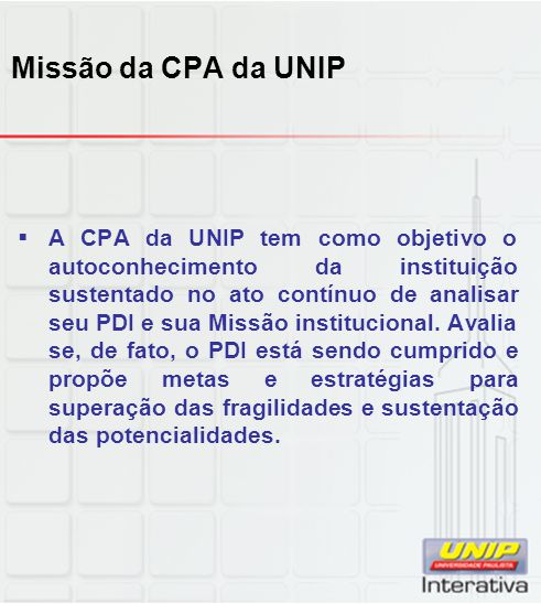 Missão da CPA da UNIP