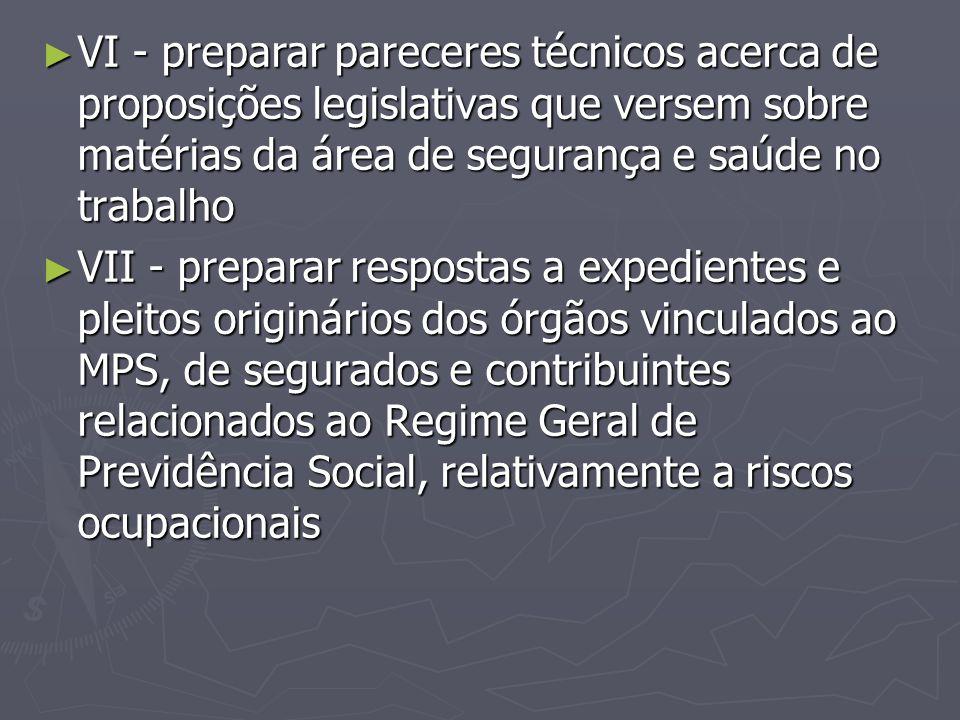 VI - preparar pareceres técnicos acerca de proposições legislativas que versem sobre matérias da área de segurança e saúde no trabalho