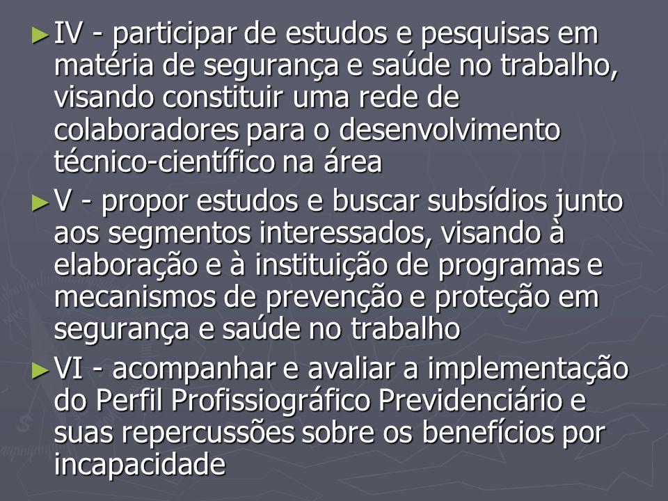 IV - participar de estudos e pesquisas em matéria de segurança e saúde no trabalho, visando constituir uma rede de colaboradores para o desenvolvimento técnico-científico na área