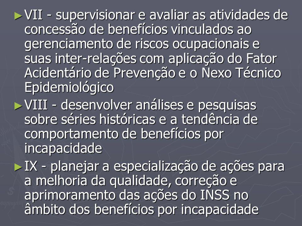 VII - supervisionar e avaliar as atividades de concessão de benefícios vinculados ao gerenciamento de riscos ocupacionais e suas inter-relações com aplicação do Fator Acidentário de Prevenção e o Nexo Técnico Epidemiológico