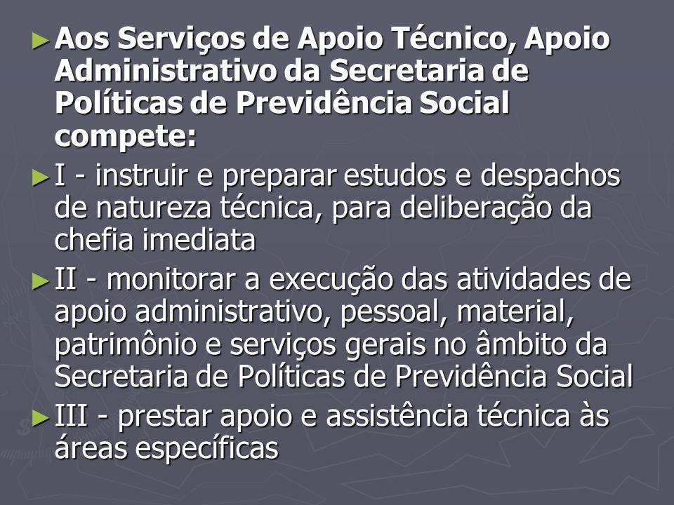 Aos Serviços de Apoio Técnico, Apoio Administrativo da Secretaria de Políticas de Previdência Social compete: