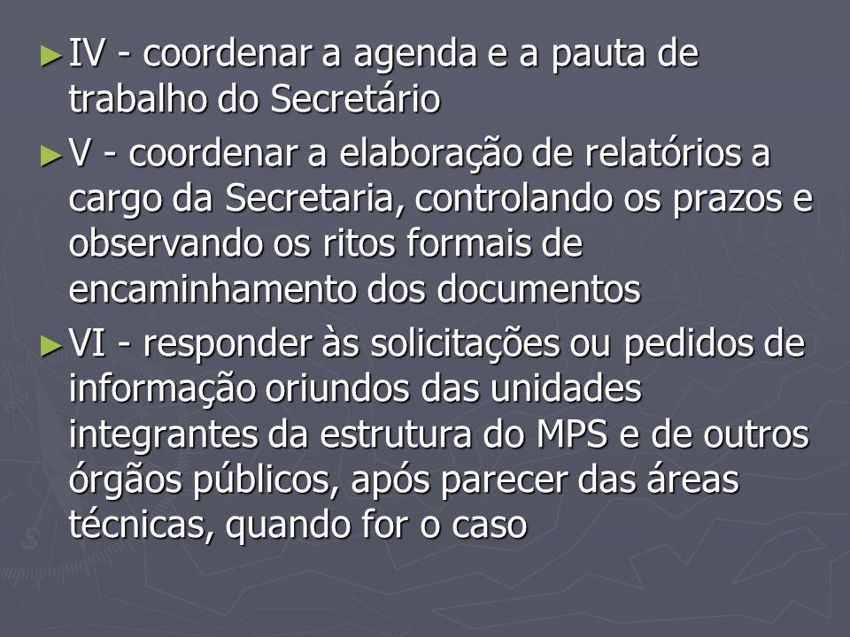 IV - coordenar a agenda e a pauta de trabalho do Secretário