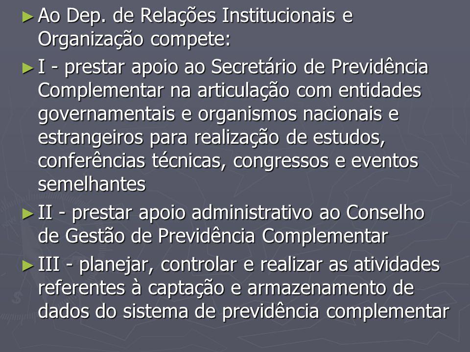 Ao Dep. de Relações Institucionais e Organização compete: